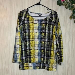 NWT Project Runway Scuba Knit Plaid Top Large